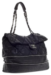 Chanel Large Flap Expandable Lambskin Ligne Shoulder Bag