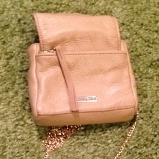Kelsi Dagger Leather Removeable Strap Metal Chain Tan Clutch