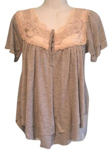 Free People T Shirt gray with cream