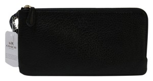 Coach F54056 Gold Hardware Leather Wristlet in Black