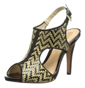 SCHUTZ Sandals Leather Woven Black & Gold Pumps