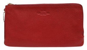 Coach F54056 Gold Hardware Leather Wristlet in Red