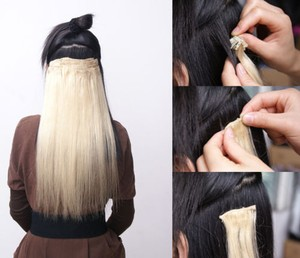 8pc Pale Blonde Clip In Hair Extension Free Shipping
