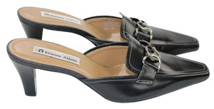 Etienne Aigner Leather Chain Silver Hardware Black Mules