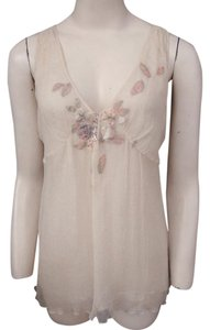Rebecca Taylor Silk Embellished Sleeveless Top Cream