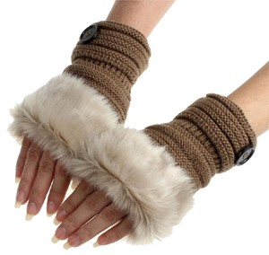 Other 2 Tone Brown Faux Fur Trimmed Fingerless Gloves Free Shipping