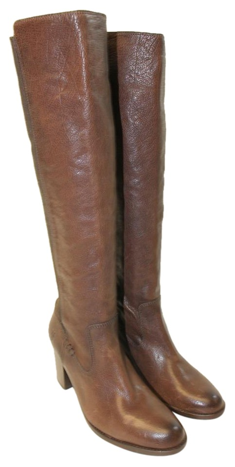 Frye Brown New B Womens B New Tall Leather Gore Pull On Riding Heel Boots/Booties b9ca1c