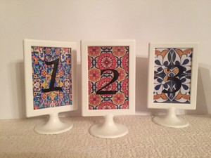 Set Of 12 Spanish Tile Table Numbers