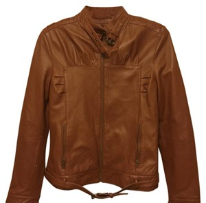 Metro 7 camel brown Leather Jacket
