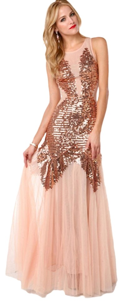 Rose Gold Mesh Sequin Gown Long Formal Dress Size 8 (M) - Tradesy