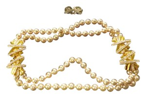 Premier Designs Pearl X Rhinestone Necklace and Earrings Set