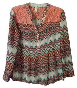 No Boundaries Lace Aztec Design Indian Design Top orange multi