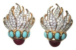 Elizabeth Taylor Eternal Flame Clip Earrings Pave Crystal Turquoise Red Cabochon