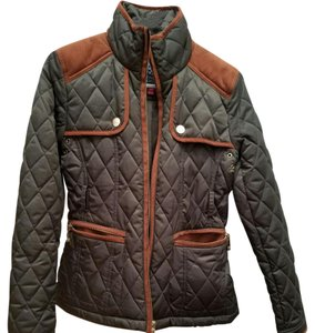 Vince Camuto Quilted Suede olive green with brown trim Jacket