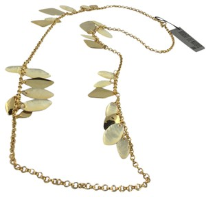 Robert Lee Morris Long Organic Charm Necklace with Gold and Mother of Pearl