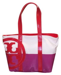 Tory Burch Tote in pink/red/natural