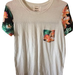 PINK T Shirt White/black floral