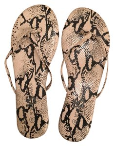 Yosi Samra Python Print Studded Thong Brown Sandals
