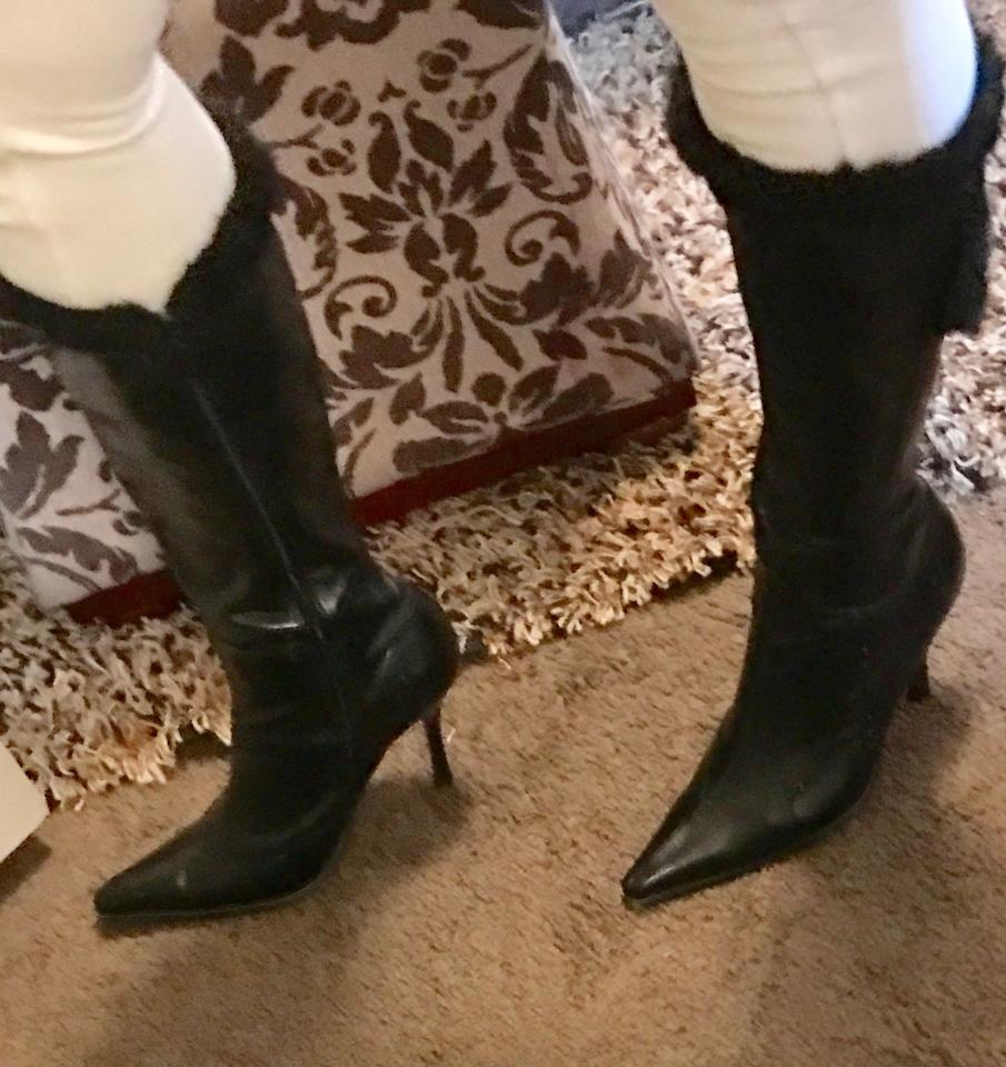 cccce614734 Black Wild Rose Leather Boots Booties Size US 9 Regular (M