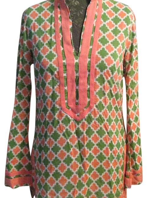 Item - Coral Green & White Rn#111395 Tunic Size 10 (M)