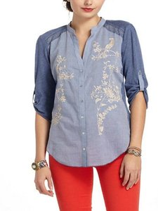 Anthropologie Button Down Shirt Blue/Ivory