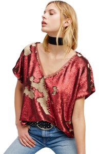 Free People Sequin T Shirt Red Combo