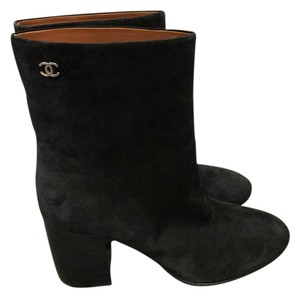 Chanel Cc Suede Navy Boots