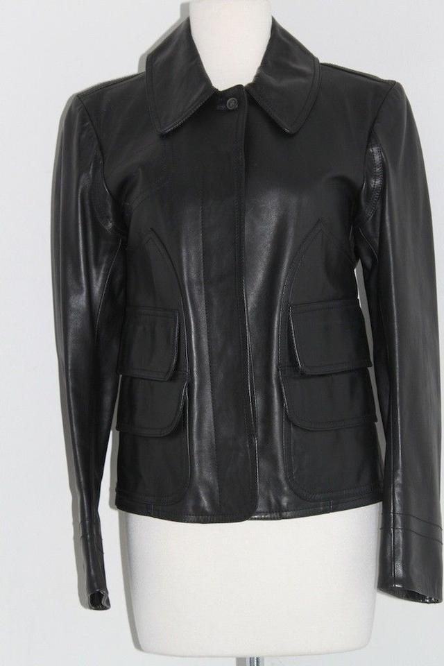 dd07e43c985 Calvin Klein Black Ladies Leather Made In Italy Jacket Size 4 (S ...