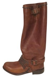 Frye Studded Leather Cognac Boots
