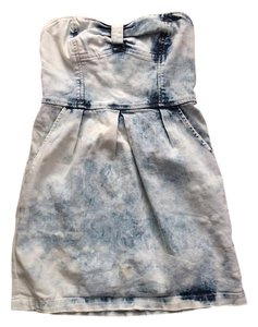 Free People short dress Blue, white (Acid wash) Denim Short Strapless on Tradesy