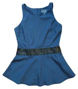 PJK Patterson J. Kincaid Peplum Leather Fitted Night Out Date Night Top Blue (navy)