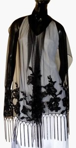Sue Wong Fringed Embellished Applique Soft Tulle Nylon Black Shawl