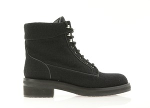 Chanel Cc Tweed Lace Up Black Boots