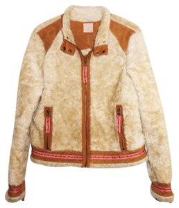 Free People Warm Lined Fur Sherpa Motorcycle Jacket