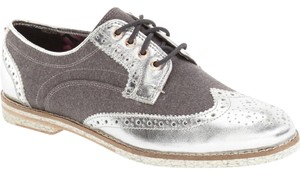 Ted Baker Oxford Metallic SILVER Flats