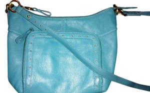 Stone Mountain Accessories Turquoise Leather Good Size Cute! Gold Hardware Cross Body Bag
