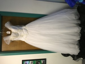 Tiffany Designs White Lace Gown Wedding Dress