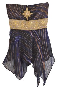 Jagger Strapless Asymmetrical Top Deep Purple, Gold
