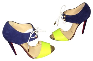 Christian Louboutin navy and neon Pumps