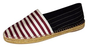 Marc Jacobs Stripe Espadrille Black/White/Burgundy Flats
