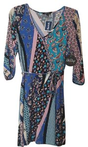 BeBop short dress pink, blue, purple, black, tan New With Tags Wrap Pattern on Tradesy