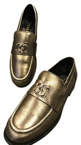 Chanel Cc Loafer Moccasin Gold Flats