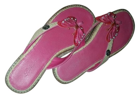 Brighton Butterflies Thong Leather Pink Sandals