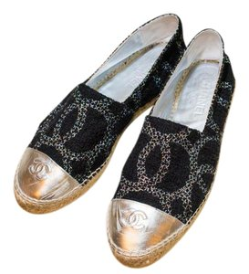 Chanel Chic Summer Espadrille blk/silver/silver Flats