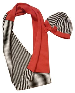 Kate Spade Black, White and Red Infinity Scarf and Glove Set
