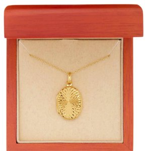 Argento Vivo 18K Gold Plated Vermeil Oval Swirl Locket Pendant Necklace