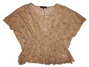 HeartSoul Layering Flowers Lacy Embroidered Top Beige, Gold