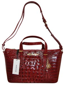 Brahmin Asher Mini Croco Leather Satchel in Carmine Red