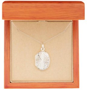 Argento Vivo Sterling Silver Engraved Swirl Oval Pendant Locket Necklace
