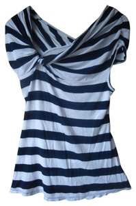 Anthropologie Deletta Striped T Shirt Navy and White